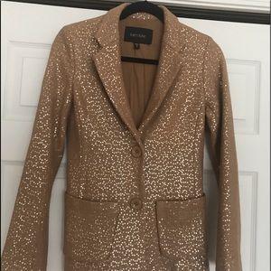 Karen Kane Blazer Tan with Gold Sequin size XS